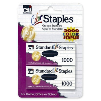 Charles Leonard Co. Standard Staples, Chisel Point, 1000per Pack, Colored