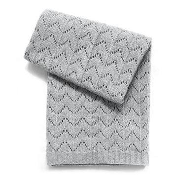 Esteffi Fan Stitch Wool Blend Baby Blanket (Set of 2) Color: Heathered Gray
