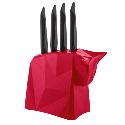 Koziol 5 Piece Pablo Steak Knife Block Set, Red
