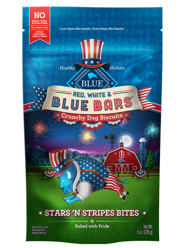 THE BLUE BUFFALO CO. BLUE™ Red, White & BLUE Bars® Stars 'N Stripes Bites Crunchy Dog Biscuits