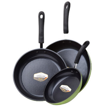 Green Earth Frying Pan 3-Piece Set by Ozeri (8, 10, 12 ), with Textured Ceramic Non-Stick Coating from Germany (100% P