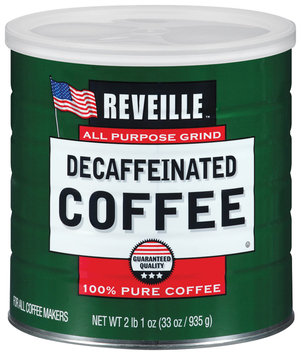 Reveille 100% Pure  Decaffeinated Coffee 33 Oz Canister