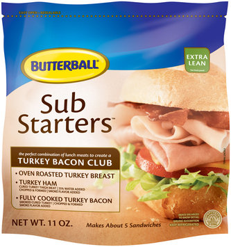 BUTTERBALL Sub Starter Turkey Bacon Club-Oven Roasted Turkey Breast, Turkey Ham & Fully Cooked Turkey Bacon Sliced Meat 11 OZ PACK