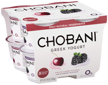 Chobani® Black Cherry/Blackberry Blended Non-Fat Greek Yogurt 8-3.5 oz. Cups