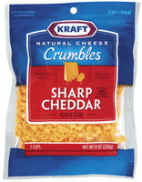 Kraft Natural Cheese Sharp Cheddar Aged Wisconsin Cheese Crumbles 8 Oz Peg