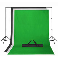 Square Perfect Chroma Key Green Screen with Black and White Backdrop stand Kit Photography Set