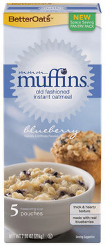 BETTEROATS Muffins Blueberry 5 ct Instant Oatmeal Old Fashioned 7.55 OZ BOX