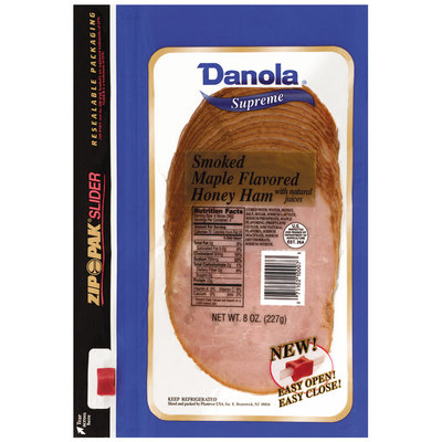 Danola Supreme Smoked Sliced Ham Honey Maple 8 Oz Zip Pak