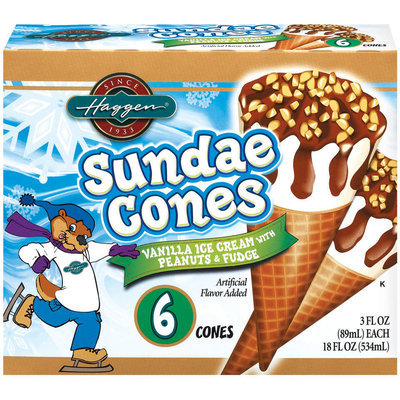 Haggen Vanilla Ice Cream W/Peanuts & Fudge 3 Fl Oz Sundae Cones 6 Ct Box