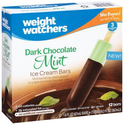 Weight Watchers Dark Chocolate Mint Ice Cream Bars 12 ct Box