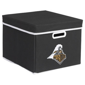 MyOwnersBox College STACKITS Purdue University 12 in. x 10 in. x 15 in. Stackable Black Fabric Storage Cube 12023003CPUR