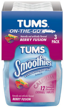 Tums On-The-Go Extra Strength Berry Fusion 12 Ct Smoothies Antacid Calcium Supplement 3 Pk Bottles