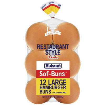 Holsum Hamburger Large Sof-Buns 12 Ct Buns 21 Oz Bag