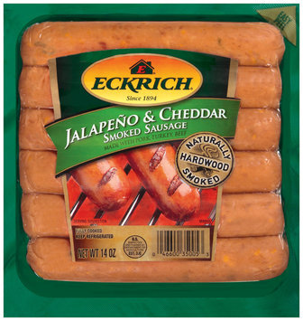 Eckrich Naturally Hardwood Smoked Jalapeno & Cheddar W/Pork Turkey & Beef Smoked Sausage 14 Oz Pack