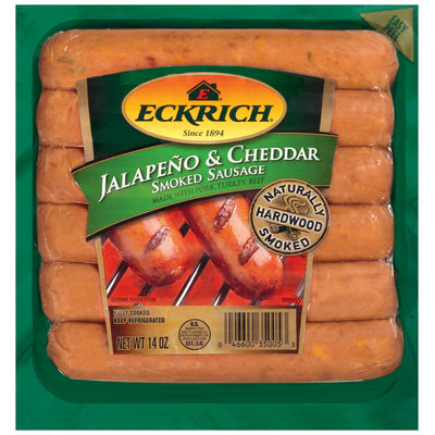 Eckrich Naturally Hardwood Smoked Jalapeno & Cheddar W/Pork Turkey & Beef Smoked Sausage 14 Oz Pack