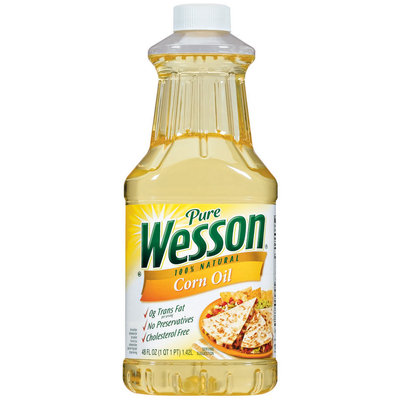 Wesson Pure 100% Natural Corn Oil 48 Fl Oz Plastic Bottle