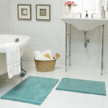 Resort Collection Chenille Plush 2 Piece Bath Mat Set, Aqua