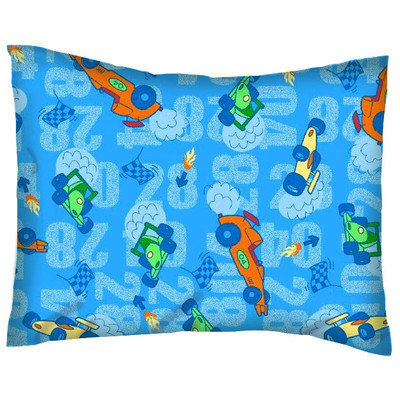 Stwd Race Cars Cotton Percale Crib/Toddler Pillow Case