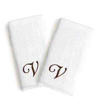 Linum Home Textiles Soft Twist Monogrammed Hand Towel Letter & Font Options: Letter: V, Font: Linum