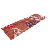 Kess Inhouse Butterflies Party by Vikki Salmela Yoga Mat Color: Brown