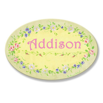 Stupell Industries Kids Room Personalization Floral Wall Plaques
