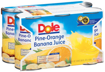 Dole 100% Juice 6 Oz Pine-Orange Banana 6 Pk Sleeve