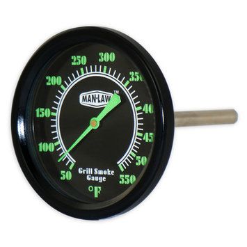 MAN LAW BBQ series Grill/Smoker Thermometer w.Glow in the dark dial