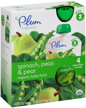 Plum™ Organics Yum™ Stage 2 Spinach, Peas, & Pear Organic Baby Food 4-4 oz. Pouches