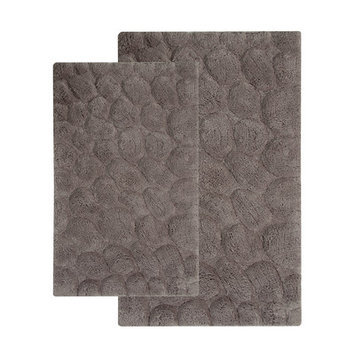 Saffron Fabs 2 Piece Bath Rug Set Color: Gray