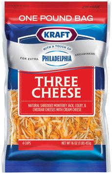 Kraft Natural Cheese Three Cheese W/Touch of Philadelphia Shredded Cheese 16 Oz Peg