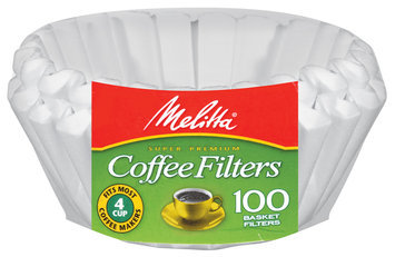 Melitta Super Premium Basket 4 Cup White Coffee Filters 100 Ct Wrapper