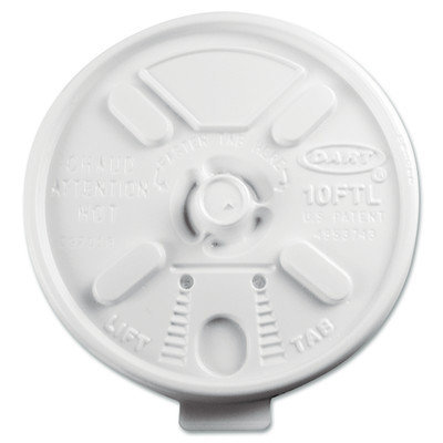 Dart Fusion 10FTL Lift N Lock Plastic Hot Cup Lids Fits 10-oz. Cups White 100/bag