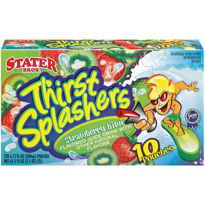 Stater Bros. Thirst Splashers Strawberry Kiwi 6.75 Fl Oz Pouches Juice Drink 10 Ct Box