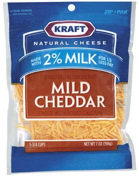 Kraft Natural Cheese Mild Cheddar Reduced Fat W/Added Calcium Made W/2% Milk Shredded Cheese 7 Oz Peg