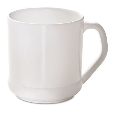 SAVANNAH SUPPLIES INC. Biodegradable Reusable Mug, Squat Wide, 10 oz, White