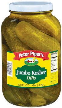 Peter Piper's Jumbo Kosher Dills Pickles 1 Gal Jar