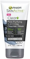 Garnier® SkinActive™ Clean+ Pore Purifying 2-in-1 Clay Cleanser/Mask for Oily Skin 5 fl. oz. Tube