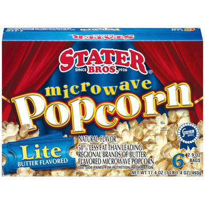 Stater Bros. Lite Butter Flavored 2.9 Oz Bags Microwave Popcorn 6 Ct Box
