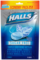Halls Sugar Free Mountain Menthol Flavor Menthol Cough Suppressant/Oral Anesthetic Drops 70 ct Bag