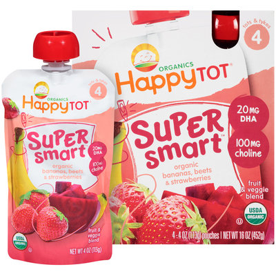 Happy Tot® Organics Super Smart™ Organic Bananas, Beets & Strawberries Fruit & Veggie Blend 4-4 oz. Pouches