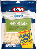 Kraft Shredded Pepper Jack Cheese with a Touch of Philadelphia 8 oz. ZIP-PAK®