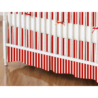 Stwd Primary Stripe Woven Crib Skirt Color: Red