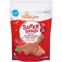 Happy Tot® Super Foods Organic Puffed Ancient Grain Tomato Basil & Cheddar Dino Snack 1.48 oz. Bag