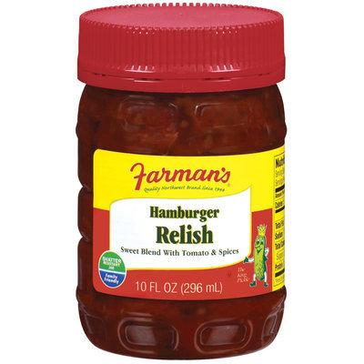 Farman's Sweet Blend W/Tomato & Spices Relish Hamburger  10 Fl Oz Plastic Jar