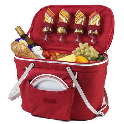 Picnic at Ascot 401R Collapsible Insulated Picnic Basket in Red
