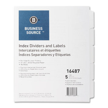 Business Source BSN16487 Index Dividers- Unpunched- 5-Tab- White