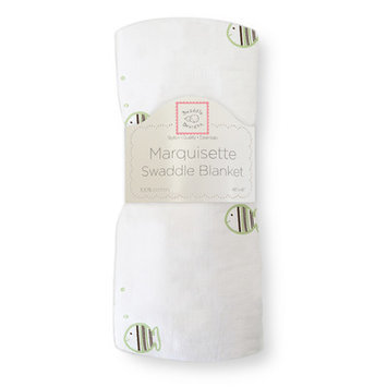 Swaddle Designs Marquisette Swaddling Blanket in Pastel and Mocha Striped Fish Color: Kiwi