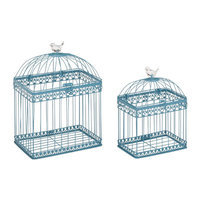 Cole & Grey 2 Piece Metal Acrylic Bird Cage Set Color: Turquoise
