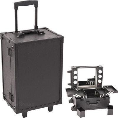 Just Case Usa Inc. Sunrise Black Professional Rolling Makeup Studio Case with Lights/ Mirror