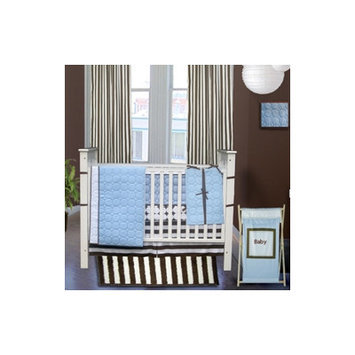 Bacati Quilted Circles 3 Piece Crib Bedding Set in Blue and Chocolate